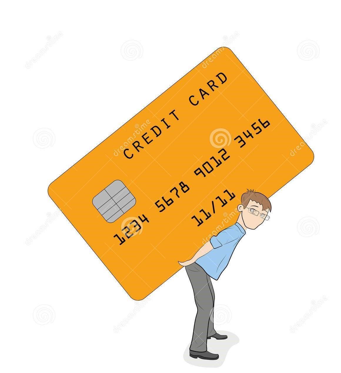 una-pequeña-persona-se-está-colocando-bajo-carga-de-tarjeta-crédito-concepto-condiciones-pesadas-del-ilustración-vector-105224764